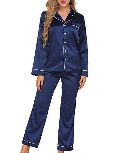0377a2cc0b Ekouaer Women s Satin Sleepwear Long Sleeve Loungewear Two Piece Pajama Set  S-XXL