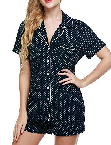 782d02e37e Ekouaer Women s Sleepwear Short Sleeve Pajama Set with Pj Shorts ...