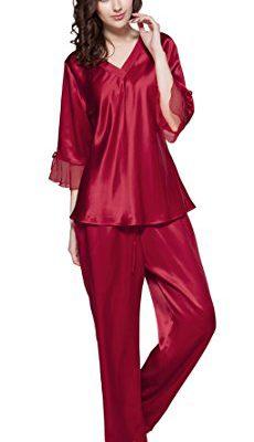 45268d23eaf39 LILYSILK Women s 100% Pure Silk Pajamas Set V Neck 3 4 Long Sleeve 22