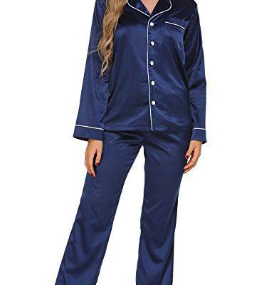 Ekouaer Women s Satin Sleepwear Long Sleeve Loungewear Two Piece Pajama Set  S-XXL fd6862181