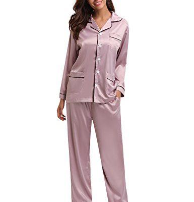 Men  S Pajama Set,Long Sleeve Silk Sleepwear Long Button Down Loungewear with Pants